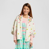 Cat & Jack Girls' Poncho Sweater Cape with Poms Cat & Jack - Grey