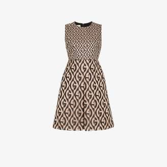 Gucci Womens Brown G Rhombus Logo Printed Dress