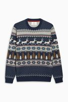Blue Patterned Christmas Jumper