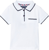 Andy & Evan White Polo with Navy Ribbing