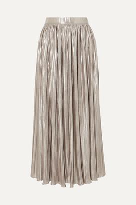 Saloni Camille Pleated Metallic Jersey Midi Skirt - Silver
