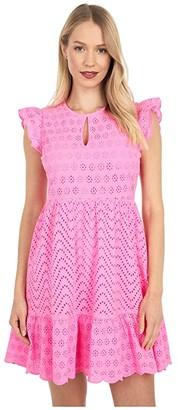Vineyard Vines Allamanda Floral Eyelet Dress (Pink Wave) Women's Dress