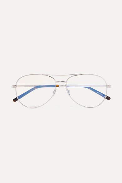 Saint Laurent Aviator-style Silver-tone Optical Glasses