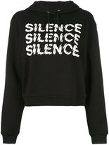 McQ by Alexander McQueen Silence cropped hoodie - women - Cotton - XXS
