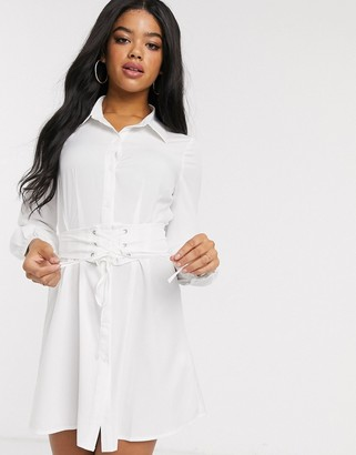In The Style corset detail oversized shirt in white