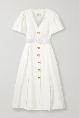 Nicholas Troy Belted Linen Midi Dress - White
