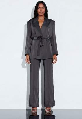 Missguided Gray Satin Belted Blazer