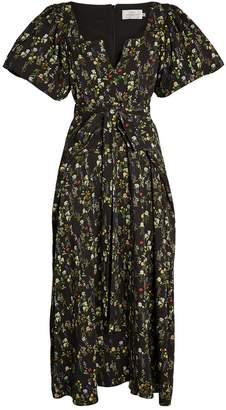 Preen Katarina Puff-Sleeve Floral Midi Dress