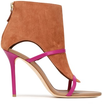 Malone Souliers Cutout Leather-trimmed Suede Ankle Boots