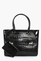 Boohoo Isabel Mock Croc Patent Tote With Coin Purse