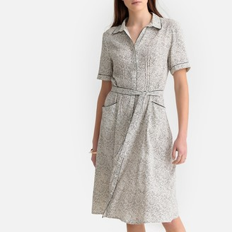Paisley Print Shirt Dress with Tie-Waist