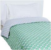 OM Home Jasper Reversible Twin Duvet Cover - Green/Blue Stripe