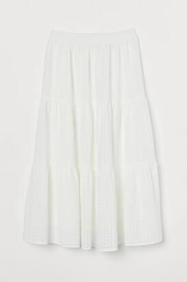 H&M Wide-cut Skirt - White