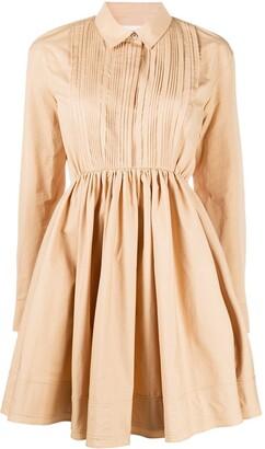 Jil Sander Pleat Detail Flared Shirt Dress