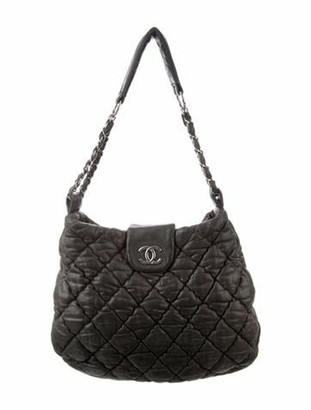 Chanel Large Bubble Quilt Hobo Grey