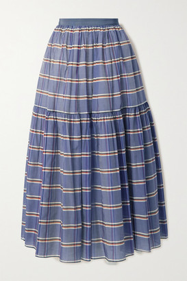 Brock Collection Striped Cotton And Silk-blend Organza Midi Skirt - Blue