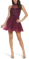 La Femme Women's Rhinestone Halter Skater Dress