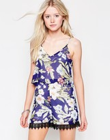 Daisy Street Romper In Tropical Floral Print With Crochet Hem