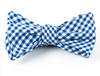 Tie Bar Novel Gingham Royal Blue Bow Tie