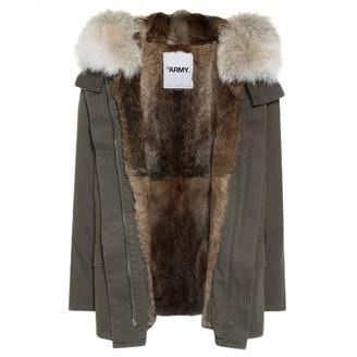 Yves Salomon Green Fur Coat for Women