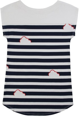 Billieblush Girls Stripe Applique T-Shirt Dress - Blue