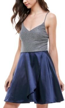 City Studios Juniors' Glitter & Satin Fit & Flare Dress