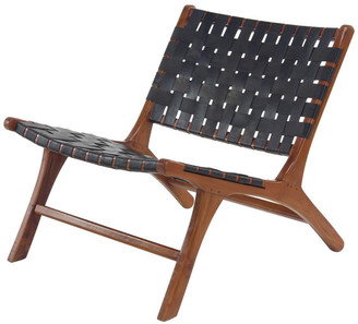 Brimfield & May Midcentury Mahogany Wood and Leather Country Chair, Black