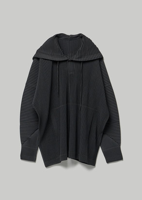 Homme Plissé Issey Miyake Men's January Hoodie in Black Size 3