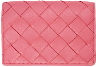 Bottega Veneta Pink Intrecciato Flap Card Holder