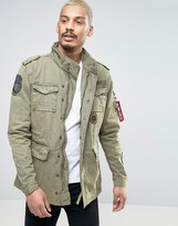 Alpha Industries M65 Field Jacket with Patches in Green