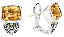 Lagos 18K Gold and Sterling Silver Caviar Color Citrine Huggie Drop Earrings