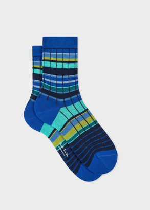 Paul Smith Women's Blue Stripe Ribbed Socks