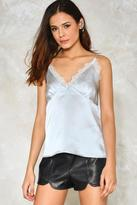 Nasty Gal Lace For Words Satin Top