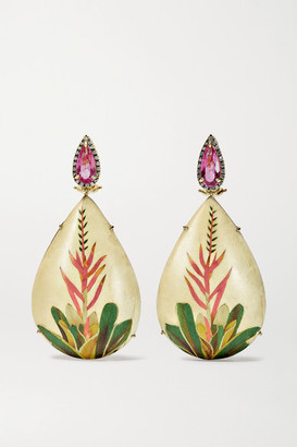 Silvia Furmanovich Marquetry 18-karat Gold, Wood, Tourmaline And Diamond Earrings - one size