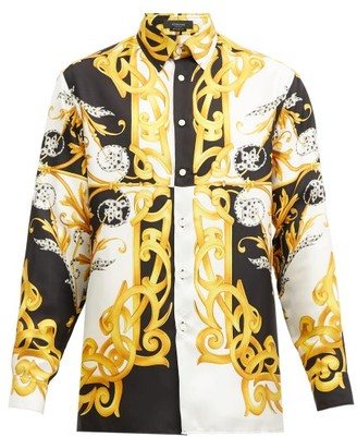 Versace Baroque-print Silk-faille Shirt - Black Yellow