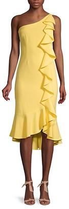 LIKELY One-Shoulder Ruffle Midi Dress