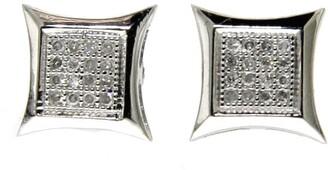 Kc Jewelry 14k White Gold Diamond Accent Kite Shape Hip Hop Stud Earrings