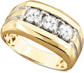 Macy's Men's 14k Gold Ring, Diamond Three Stone (1 ct. t.w.)