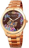 Akribos XXIV Women's Rose-Tone Case with Genuine Swarovski Crystals and Mother-of-Pearl with Butterfly Dial on Rose-Tone Stainless Steel Bracelet Watch AK953BRG