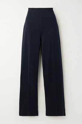 Loro Piana Silk And Cotton-blend Wide-leg Pants - Navy