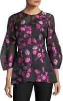 Lela Rose Tulip Fil Coupe Full-Sleeve Top