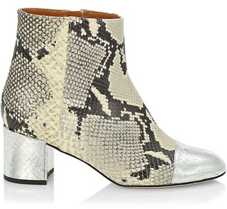 Paris Texas Snakeskin-Embossed & Metallic Croc-Embossed Leather Ankle Boots