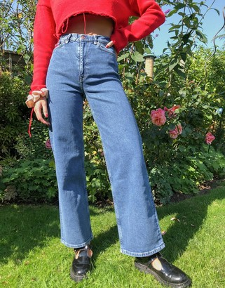 And other stories & Treasure organic cotton wide leg denim jeans in strong blue