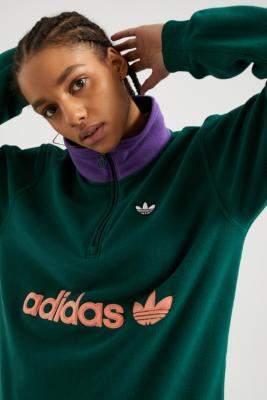 adidas Colourblock Half-Zip Sweatshirt - green XS at Urban Outfitters