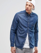 Cheap Monday Avoid Denim Shirt Logo Small Scout Blue