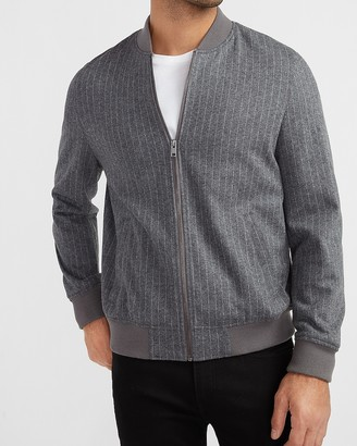 Express Gray Striped Luxe Comfort Soft Bomber Jacket