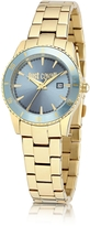 Just Cavalli Just In Time Gold Tone Stainless Steel Women's Watches w/Blue Dial