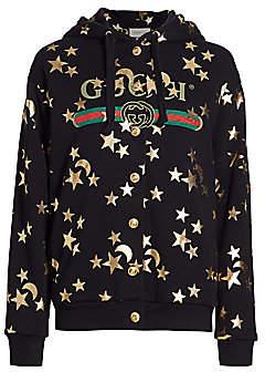 Gucci Women's Heavy Jersey Star & Moon Logo Hoodie
