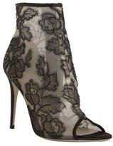 black floral lace peep toe booties
