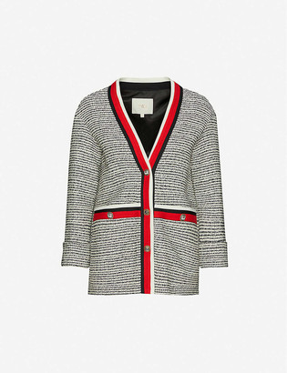 Maje Striped-trim boucle jacket